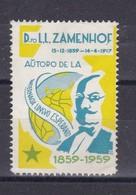 Dro LL ZAMENHOF, AUTORO DE LA INTERNACIA LINGUO ESPERANTO, BRAZIL 1959 VIÑETA VIGNETE CINDERELLA-RARE- BLEUP - Esperanto
