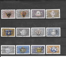 FRANCE 2018  LES THEIERES  SERIE COMPLETE DE 12 TIMBRES AUTOADHESIFS OBLITERES. - France