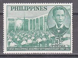 Filippine Philippines Philippinen Pilipinas 1956 WCOTP Conference 1952 M.Pilar 5c Overprinted In Black - MNH** Toned Gum - Filippine