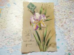 Saint Eloi : Carte Celluloïd Branches Peintes à La Main Et Fleur En Tissus - Cartes Postales