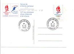 OBLITERATION MANUELLE PARCOURS FLAMME OLYMPIQUE - BRIDES LES BAINS- V.O. 8/2/1992 - Manual Postmarks