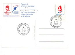 OBLITERATION MANUELLE PARCOURS FLAMME OLYMPIQUE - MOUTIERS - C.I.R.T.V. 8/2/1992 - Manual Postmarks