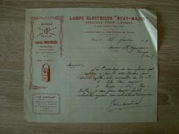 FACTURE LAMPE ELECTRIQUE ETAT-MAJOR SPECIALE POUR L'ARMEE PARIS 1919 - France