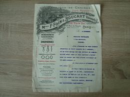 FACTURE F.FOIN & BOUCART FABRIQUE DE CHAINES PARIS 1921 - France