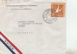 VENEZUELA - BASE BALL YT PA767 SEUL SUR LETTRE AMBASSADE DE FRANCE 17/4/1964 POUR FRANCE CANNES - Venezuela