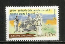 ANDORRE. Moto Side-car De La Gendarmerie En 1940, Un Timbre-poste Neuf ** - Motos