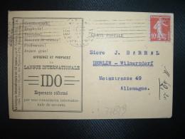 CP TP FRANCE TP SEMEUSE 10c OBL.MEC.18 DECE 13 PARIS XIX Pour ALLEMAGNE + IDO Esperanto Réformé - Esperanto
