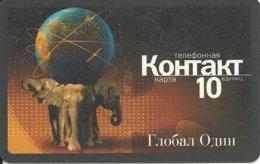 GLOBAL ONE Elephant : 10501G 10 Brown KONTAKT  THIN Plastic  01.2002 USED Exp: 01.01.2002 - Russie