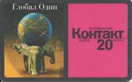 GLOBAL ONE Elephant : 10503A 20 Red KONTAKT /rev. BLACK Border 03.2000 USED Exp: 31.03.2000 - Russie