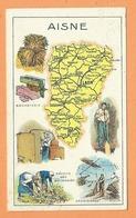 Chromos  Récompense D'élève  - Aisne - (Carte Département ) - Bonneterie - Récolte Des Betteraves  - Ardoisières - Old Paper