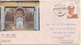 India FDC 27-2-19081 G. V. Mavalankar Uprated On The Backside Of The Cover And Sent To Canada - FDC