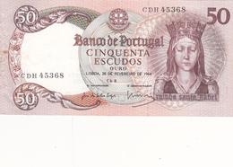 Portugal  -Nota De 50 Escudos Rainha Santa Isabel 28 -2-1964  -letras CDH - Portugal