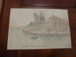 DESSIN ORIGINAL CHATEAU D'ANGERS AU 19eme 1864 SIGNE LEGENDE TBE REGIONALISME - Other Collections