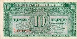 CECOSLOVACCHIA-10 KORUN  1945  P-60  UNC - Cecoslovacchia