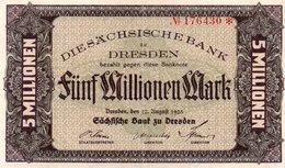 GERMANIA 5 MILLIONEN MARK 1923-DIE SACHSISCHE BANK- XF - Bundeskassenschein
