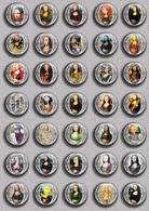 Mona Lisa Fan ART BADGE BUTTON PIN SET 2 (1inch/25mm Diameter) 35 DIFF - Pin's