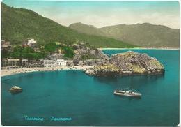W274 Taormina (Messina) - Panorama Della Spiaggia - Barche Boats Bateaux / Viaggiata 1959 - Italia
