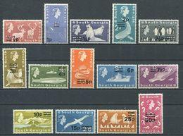 239 SUD GEORGIE 1971 - Yvert 25/38 Surcharge Monnaie Decimale - Reine Elizabeth - Neuf **(MNH) Sans Trace De Charniere - Géorgie Du Sud