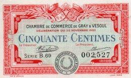 FRANCIA -0,50 CENTIMES 1920-CHAMBRE DE COMMERCE DE GRAY&VESOUL-UNC - Camera Di Commercio