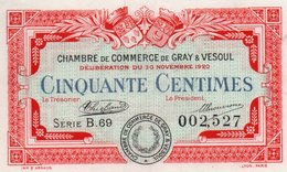 FRANCIA -0,50 CENTIMES 1920-CHAMBRE DE COMMERCE DE GRAY&VESOUL-UNC - Chamber Of Commerce