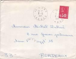 LANDES FACTEUR RECEVEUR MANO SUR BECQUET 1971 - Poststempel (Briefe)