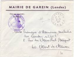 LANDES FACTEUR RECEVEUR GAREIN 1971 - Poststempel (Briefe)