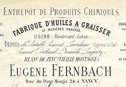 Facture Lettre 1880 / 54 NANCY/ E. FERNBACH / Fabrique D'huiles à Graisser, Blanc De Zinc / LEMAIRE Brasseur Fontenoy 88 - France