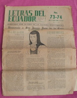 LETRAS DEL ECUADOR N° 73-74 Novembre-décembre 1951 - [1] Until 1980