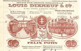 Facture  1/2 Format 1930 / 54 NANCY/ L. DIXNEUF / ROBARDELLE / Produits Alimentaires FELIX POTIN, Biscuiterie, Confiture - France