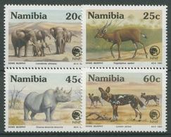 Namibia 1993 NNF Gefährdete Tiere Nashorn Elefant Wildhund 735/38 Postfrisch - Namibia (1990- ...)