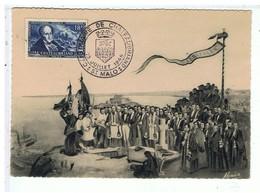 TIMBRE-1948-CARTE MAXIMUM-EVENEMENT-CENTENAIRE  DES FUNERAILLES DE CHATEAUBRIAND 1848 PAR DOUTRELEAU-St-MALO-LE GRAND BÉ - 1940-49