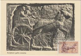 Carte-Maximum FRANCE N° Yvert 1378 (CHAR ROMAIN) Obl Sp Ill 1er Jour (Ed Bourg) - Cartes-Maximum