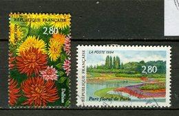 FRANCE 1994 / YT 2909 +2910  PARC FLORAL DE PARIS  Obl.ronde - France