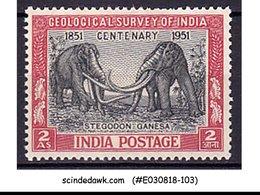 INDIA - 1951 Centenary Of Geological Survey / ELEPHANTS SG#334 - 1V - MH - 1950-59 Republik