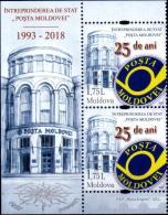 """Moldova 2018  """"25th Anniversary Of The State Enterprise """"Post Moldovei"""" """" 2v Zf Quaqlity:100% - Moldova"""