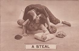 Romance Baseball Theme 'A Steal' Woman Steals Base Kisses Man, 1900s/10s Vintage Postcard - Couples