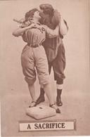 Romance Baseball Theme 'A Sacrifice' Woman & Man Kiss On Base, 1910 Vintage Postcard - Couples