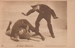 Romance Baseball Theme 'A Close Decision' Woman & Man Kiss On Base Umpire Calls Safe, 1900s Vintage Postcard - Couples