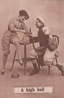 Romance Alcohol Baseball Theme 'A High Ball' Woman & Man Drink At Table, 1900s Vintage Postcard - Couples