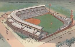 Wrigley Field Baseball Stadium, Home Of Chicago Cubs Team, 1930s Vintage Curteich Linen Postcard - Baseball