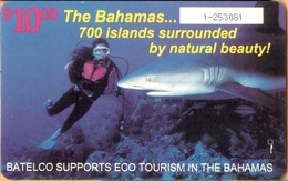 Bahamas - BS-BAT-0009, Eco Tourism, Diving (Scuba-Snorkelling), Sharks, 10$, 1996, Used - Bahamas