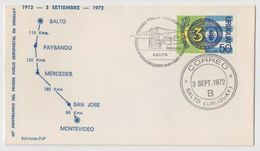 Uruguay VUELO ANIVERSARIO 1ER VUELO AEROPOSTAL MONTEVIDEO - SALTO 1972 - Uruguay