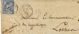 1876- Enveloppe De LaRoche-Posay ( Vienne ) Cad T16 Sur Sage 25 C - Marcophilie (Lettres)
