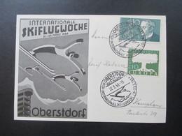 BRD Sonderkarte 1958 Internationale Skiflugwoche Oberstdorf Sonderstempel Hochallgäu. Skispringen - BRD