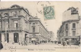 Carte Postale Ancienne De Reims Le Theatre Et La Rue Chanzy - Reims