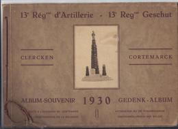 UNIEK ALBUM 1930 - 23 FOTO'S 13e REGent D'ARTILLERIE GESCHUT CLERCKEN CORTEMARCK MILITAIR KLERKEN KORTEMARK BRUGGE DAMME - Régiments