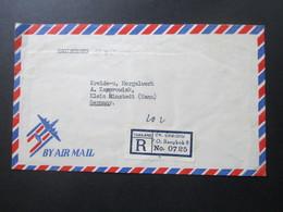 Thailand 1956 Registered Air Mail P.O. Bangkok 8 No 0725 Marken Rückseitig! Einschreiben - Thailand