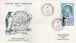Antarctic / Antarctiques. (TAAF) FDC 1991 The 30th Anniversary Of Postal Service To Crozet,penguins,birds - Terres Australes Et Antarctiques Françaises (TAAF)