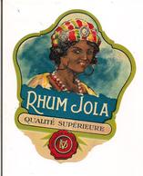 "Etiquette   RHUM Jola - Distillerie"" La Libellule "" - - Rhum"