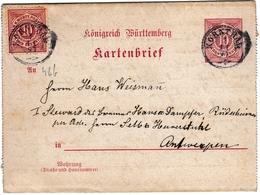 Ganzsachenpostkart Korntal Kornthal Württemberg 1891 Antwerpen Anvers Belgique Entier Postal - Wurtemberg